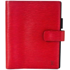 Louis Vuitton Red Epi Leather Large Ring Agenda Book