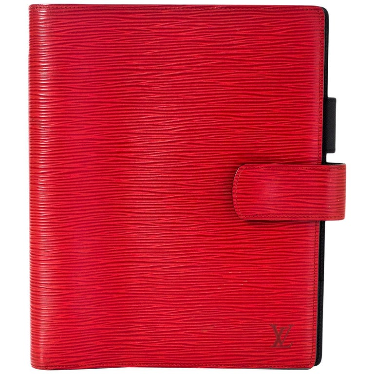 Louis Vuitton Red Epi Leather Large Ring Agenda Book For Sale