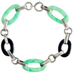 Art Deco sterling jade and onyx bracelet 1930s