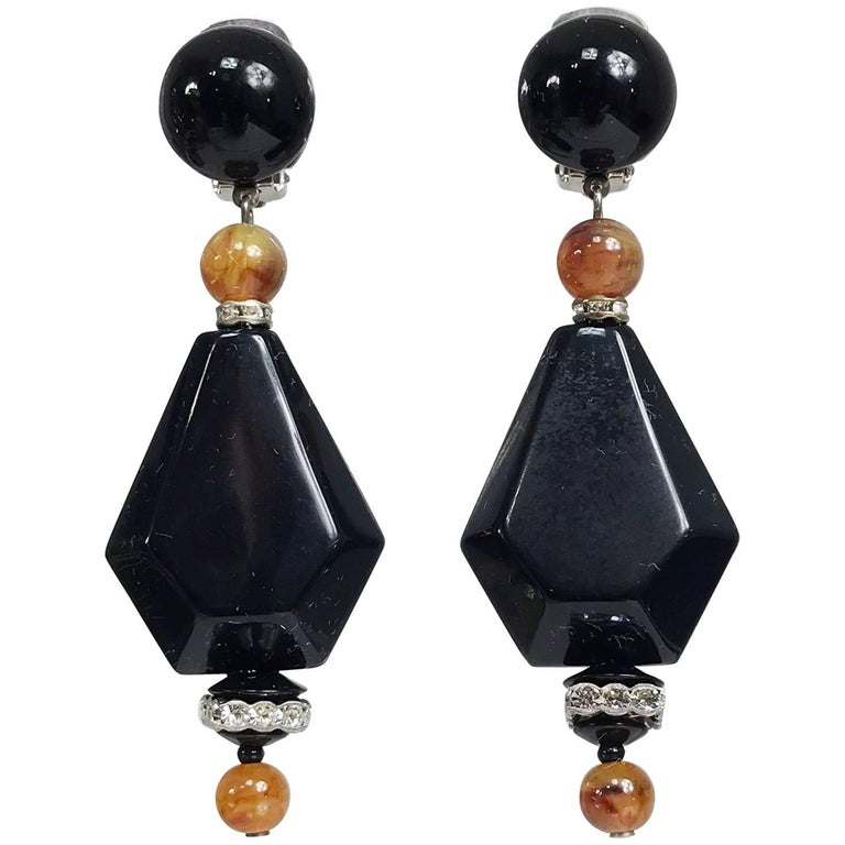Vintage black and amber bead rhinestone large dangle earrings 1990s For Sale