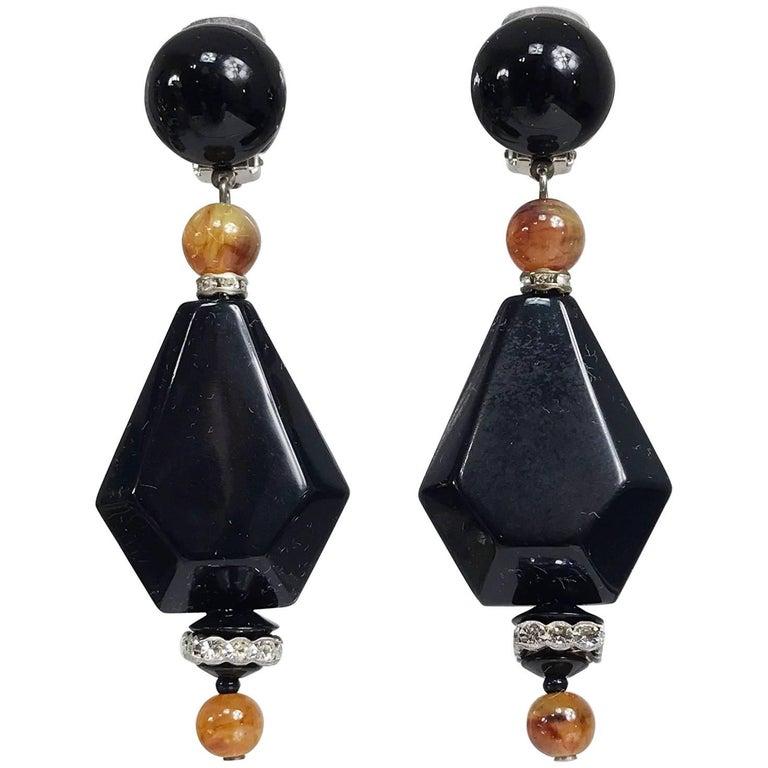 Vintage black and amber bead rhinestone large dangle earrings 1990s 1
