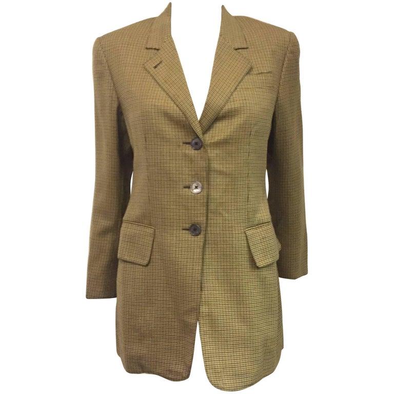 Vintage Hermès Wool Multicolor Miniature Houndstooth Equestrian Jacket