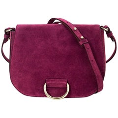 Little Liffner Raspberry Suede Saddle Messenger Bag NWT with DB