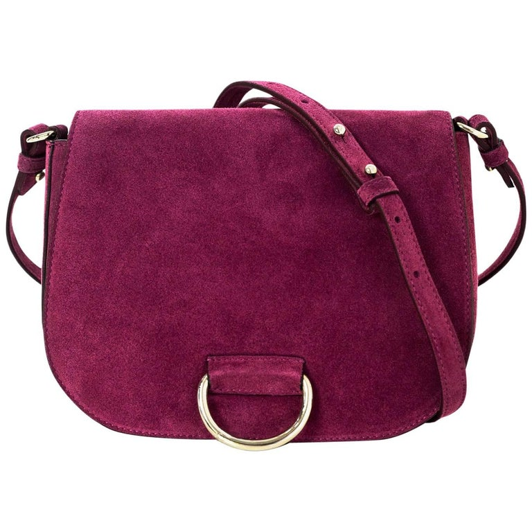 2b95f0b75 Little Liffner Raspberry Suede Saddle Messenger Bag NWT with DB For Sale