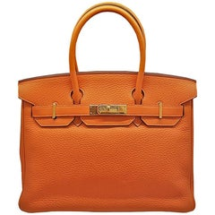 HERMES 30cm Orange Clemence Birkin Bag