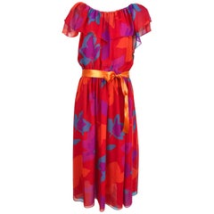 Vintage Hanae Mori vibrant printed chiffon off the shoulder dress 1970s