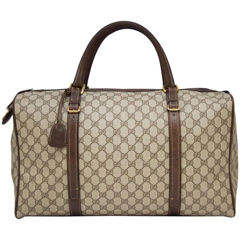 1970s Gucci Monogram Duffle Weekender Bag For