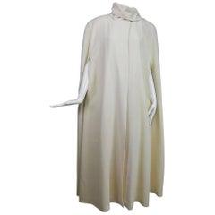 Winter white full length wool cape 1980s