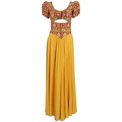 1930's Colorful Floral Print Silk & Marigold Jersey Puff Sleeve Cut-Out Gown