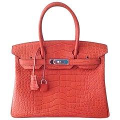 HERMES 30cm Rouge Matte Birkin Bag