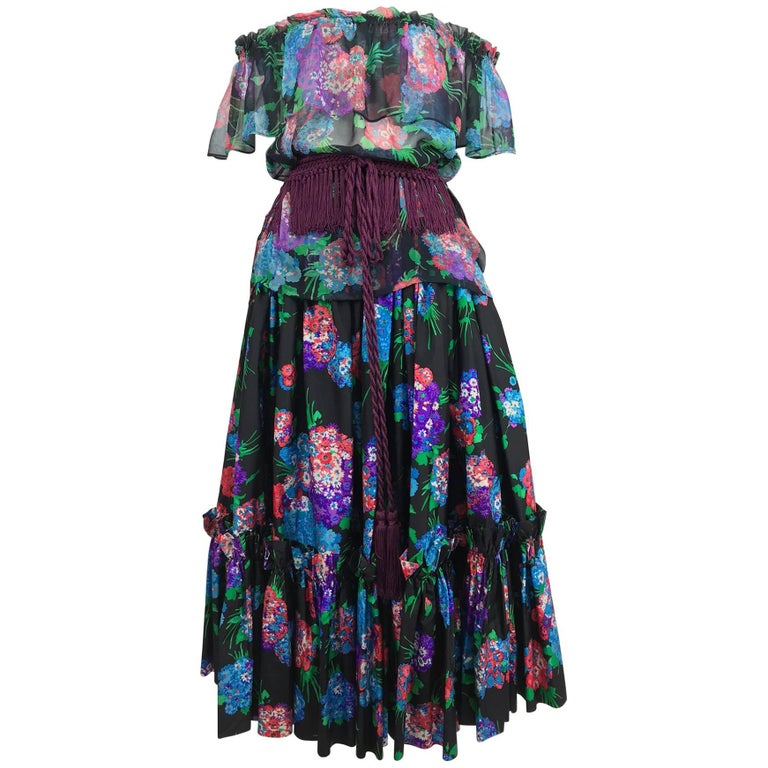 Yves Saint Laurent Russian collection silk floral top and skirt belt 1974