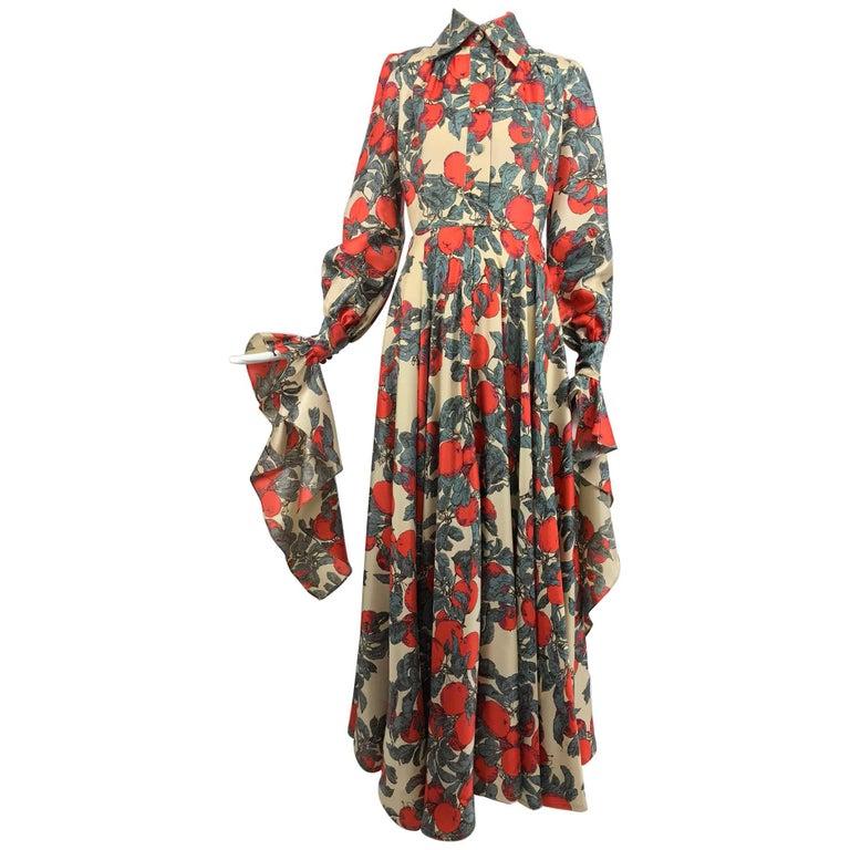 John Bates iconic apple print dress for Jean Varon  1970s For Sale