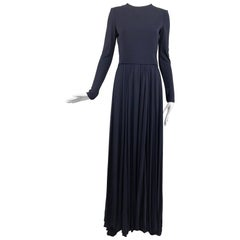 Carolina Herrera sample navy blue open back yellow matte jersey evening dress