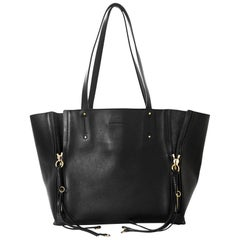 Chloe Black Medium Milo Calfskin Leather Zipper Tote Bag