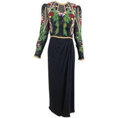 Richilene beaded and embroidered bodice sarong skirt evening dress