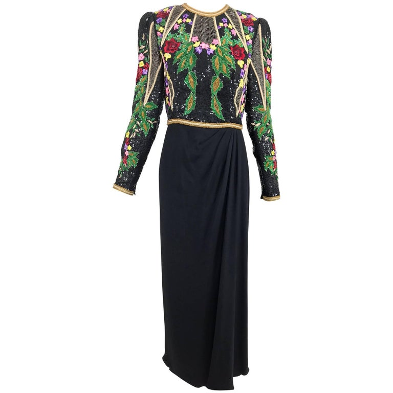 Richilene beaded and embroidered bodice sarong skirt evening dress For Sale