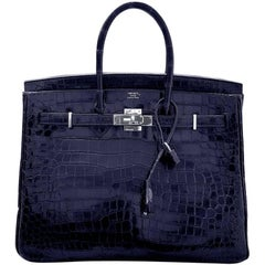 HERMES 35cm Dark Blue Birkin Bag