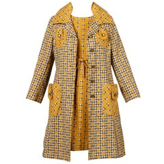 1960s Jack Feit Vintage Yellow Gingham Print Coat + Dress 2-Piece Ensemble