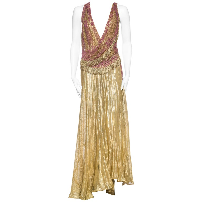 Antique Gold Lamé and Beaded Lace Backless Gown