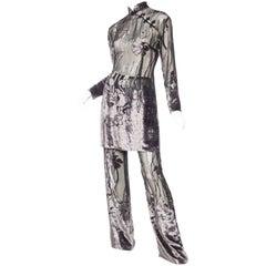 Asian Pajama Set in Sheer Burnout Velvet