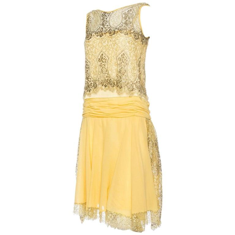 1920s Chiffon and Metal Lamé Lace Dress