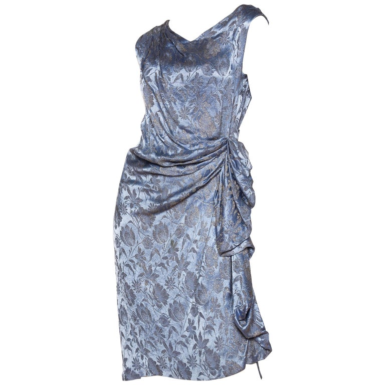 1920s Silver Floral Lamé Dress