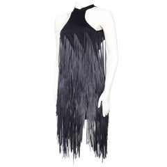 Backless Knit Dress with Ribbon Fringe
