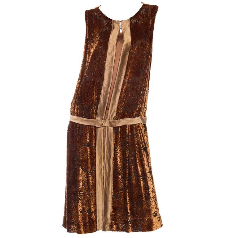 1920s Silk Burnout Velvet Dress