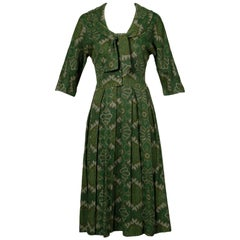 1950s Jerry Gilden Vintage Green Paisley Wool Day Dress with Ascot Bow Tie