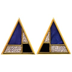 Yves Saint Laurent Vintage Triangle Pave Clip-On Earrings