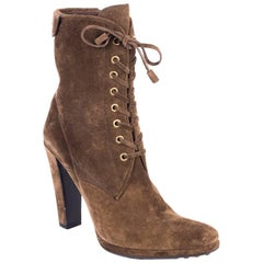 Original Car Shoe Women's Brown Suede Lace Up Ankle Boots