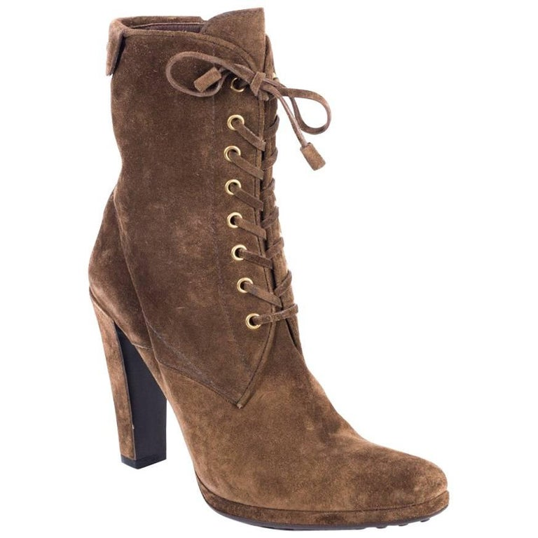 original car shoe s brown suede lace up ankle boots