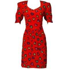 1990s Escada Vintage Red Silk Heart Print Dress with Puff Sleeves