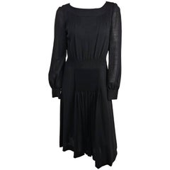 1960s Valentino Smocked Black Day Dress