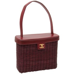 Chanel Wicker Picnic Basket Bag Tote with Leather Top Brick Red Rare 90s