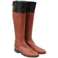 Chanel Tan & Black Leather Riding Boots Knee High CC logo Equestrian sz 39 + Box