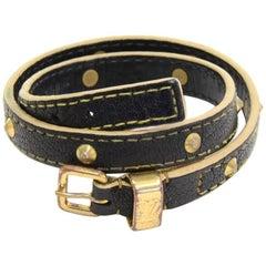 Louis Vuitton Black Suhali Leather Studs Double Tour Bracelet
