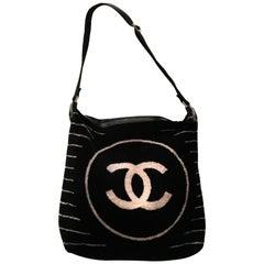 Chanel Purse/Beach Bag  Terry Cloth Black