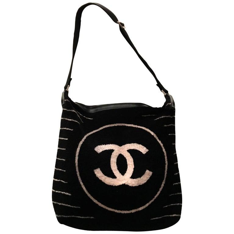 Rare Chanel Black Terry Cloth Shoulder Bag