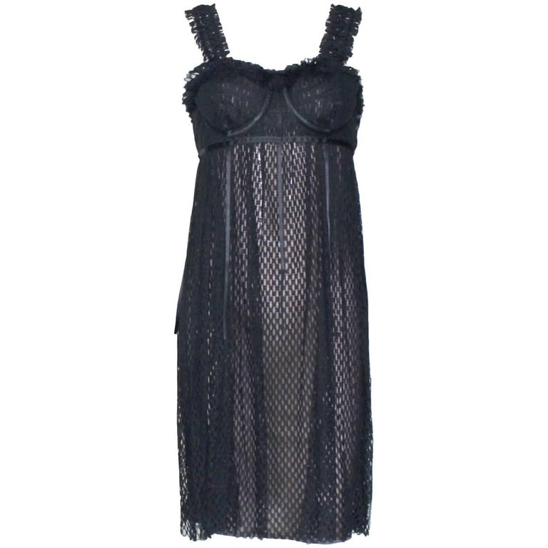 Gucci by Tom Ford 2001 Black & Nude Mesh Corset Silk Dress