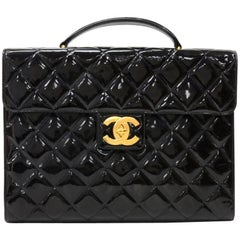 Chanel Black Patent Quilted Leather Document Brief Case Bag