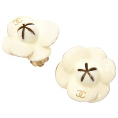 Chanel Off White Camellia Motif Earrings