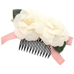 Chanel White Camellia Hair Comb