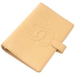 Chanel Beige Caviar Leather 6 Rings Large Agenda Cover