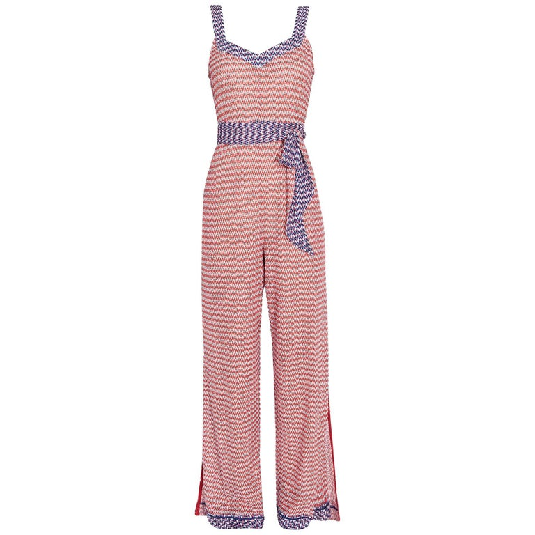 Missoni Signature Crochet Knit Wide Leg Jumpsuit with Belt