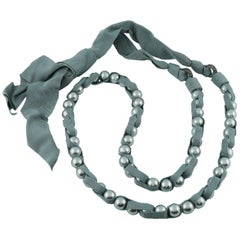 Lanvin Grey Pearl and Grosgrain Sautoir Necklace