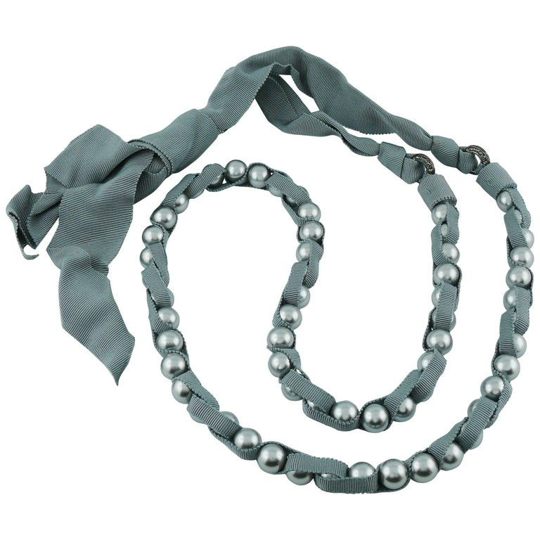 Lanvin Pearl Necklace: Lanvin Grey Pearl And Grosgrain Sautoir Necklace At 1stdibs