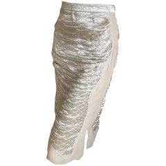 Yves Saint Laurent by Tom Ford 2004 SIlver Thread Silk Skirt