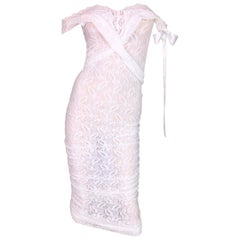 S/S 2006 D&G by Dolce & Gabbana Sheer White Stretch Lace Pin-Up Wiggle Dress
