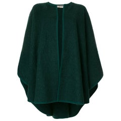 Iconic Saint Laurent Green Wool Cape